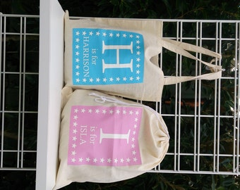 PERSONALISED library bag sports or ballet bag - drawstring or shoulder strap, choice of 15 print colors, calico