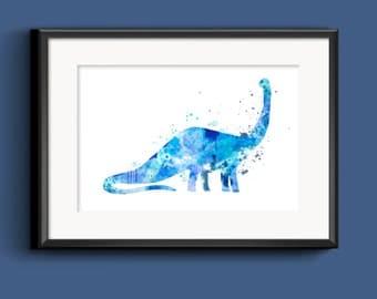 Dinosaur Wall Art - Instant Digital Download Printable Blue Watercolor Original Digital Art