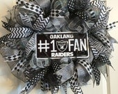 Sale! Oakland Raiders Wreath, NFL Wreath, Raiders Wreath, Raiders Decor