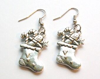 Christmas Stocking Earrings - Winter Jewelry -  Holiday Earrings - Christmas Jewelry