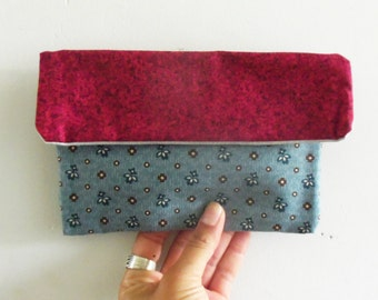 Blue and red colors cotton pouch