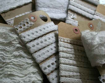 Vintage white lace trim grab bag, 15 yards total