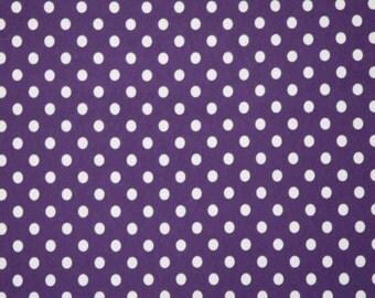 "Knit Eggplant 1/4"" Dots Fabric 1 yard"