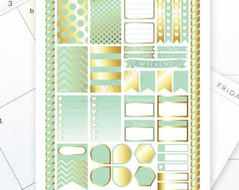 Mint & Gold Printable Planner Stickers for the Classic MAMBI Happy Planner