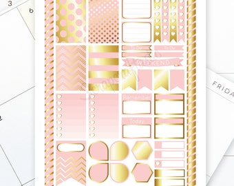 Lite Pink & Gold Printable Planner Stickers for MAMBI Happy Planner