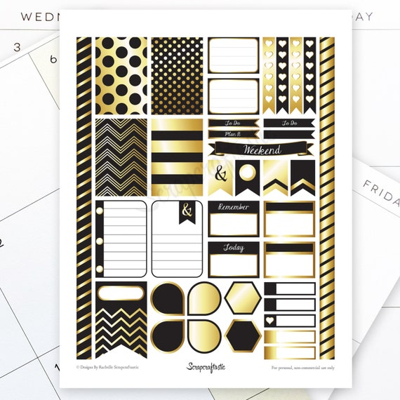 Onyx & Gold Printable Planner Stickers for the Classic MAMBI Happy Planner