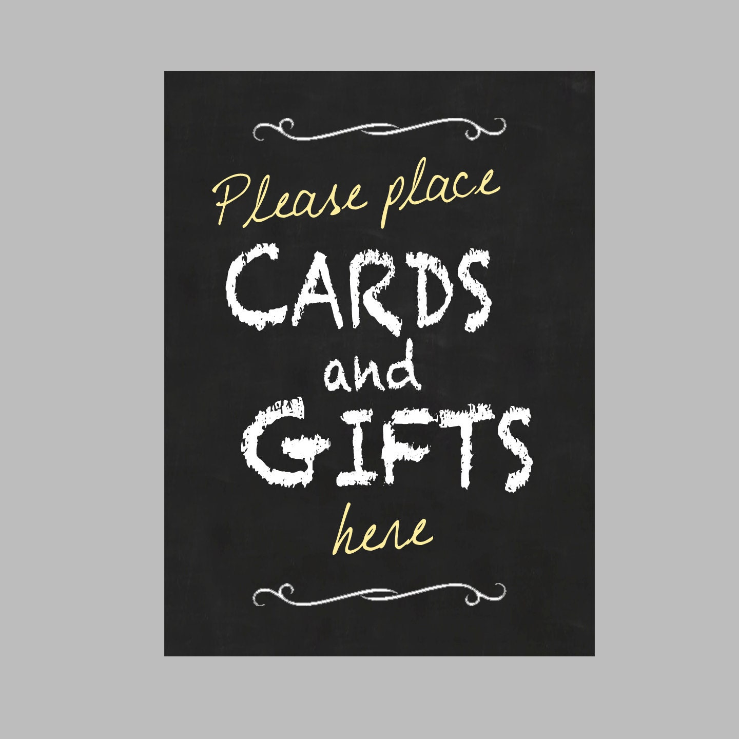 Card gift table sign 5x7 digital file vertical for Table 6 gift card