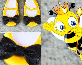 Bumblebee Baby Shoes Baby Shoes Ballet Flat Crib Shoes Birthday Shoes Party Shoes Bumblebee Outfit Shoes