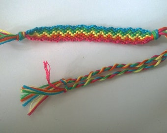 Pink, orange,yellow,green and blue zigzag friendship bracelet.