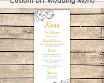Yellow and Grey Printable Wedding Menu || DIY Menu || Custom Colors Available
