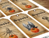 Vintage Halloween Spooky Tags, Digital Collage Sheet 6 Labels, Antique Curiosities Graphics  - Instant Digital Download