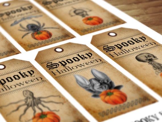 Vintage Halloween Spooky Tags