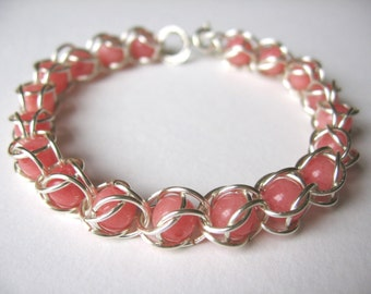 Silver wire beaded bracelet, handmade, wire wrapped chain with Japan sea pink coral gemstone beads captured in silver wire jump rings