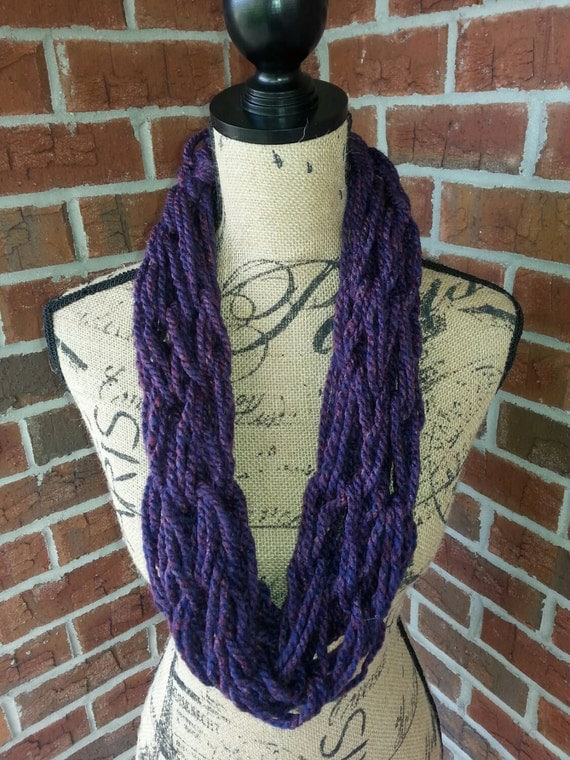 Arm knitted infinity scarf purple bulky scarf knit scarf
