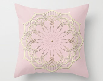 Pastel Pink Pillow, Mandala Pillow, Pink Decorative Pillow Covers, Pink and Yellow, Throw Pillows Sofa, Shabby Chic Pillows, Pink Home Decor