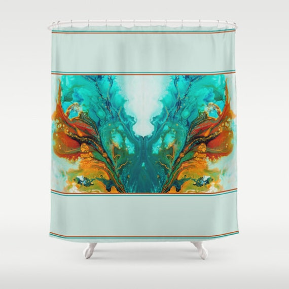 Teal Shower Curtain Turquoise Shower Curtain By DesignbyJuliaBars