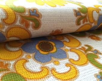 German Vintage original 70s fabric 50 x 120 cm 70's hippie flowers EX1