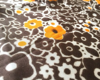 Vintage 60s fabric 50x85cm: orange flower