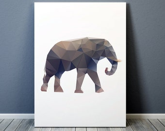 Elephant art Nursery print Animal poster Colorful decor TO185-1