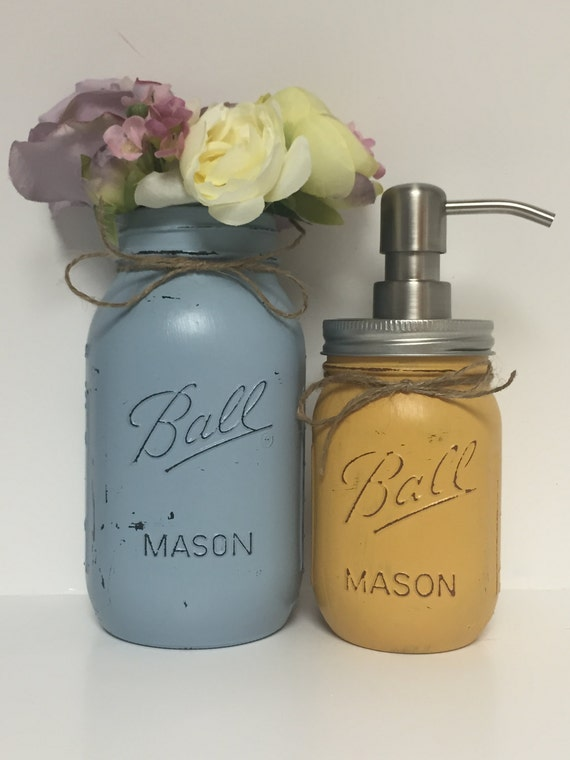 Country bathroom decor painted mason jars by for Bathroom decor mason jars