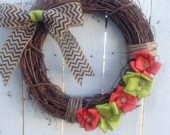 Bright Autumn Grapevine Wreath- Fall Grapevine Wreath
