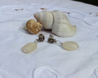 Moonstone and Sterling Silver Nautilus Shell Post Earrings