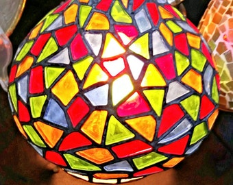 Handmade Oriental Stained Glass Lamp