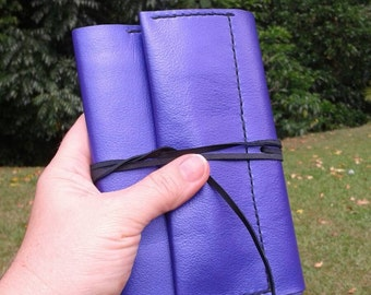 Purple leather A6 Clairefontaine notebook cover with pen holder