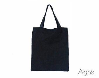 Simple Casual Black Natural Linen and Leather Tote Bag, Every Day Handbag, Shoulder Bag, Canvas Tote Bag, Shopping Shoulder Bag, Tote Bag