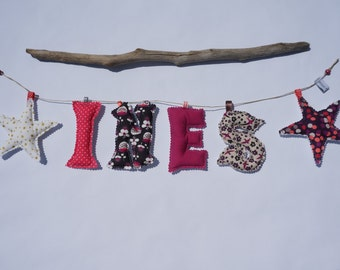 Garland first name / fabric letter Garland / Garland last name on order