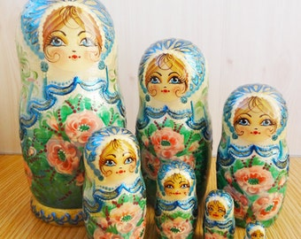 Nesting doll turquoise - nesting dolls russian matryoshka babushka nested doll matrioshka Stacking dolls kod96d