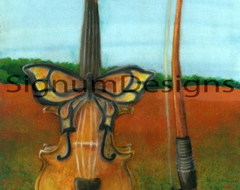 Butterfly Violin ~ A4 Fine Art Print From Original Mixed Media Artwork