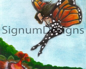 Monarch Butterfly Lady ~ 8x10in Fine Art Print From Original Mixed Media Artwork