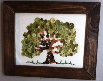 Button Tree  /  Button Art / Rustic Framed/ Tree of Life/ family tree