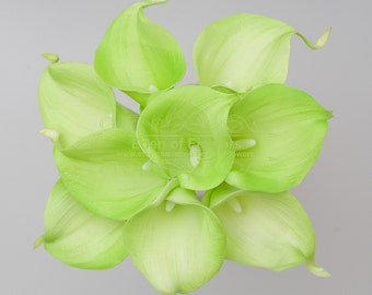 Real Touch Green Calla Lilies for Wedding Bridal Bouquet Home Decoration Centerpieces