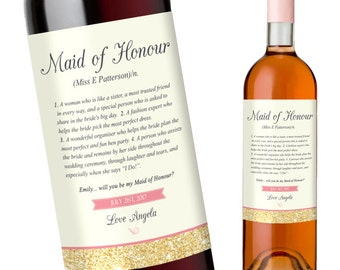 Maid of Honor Wine Labels | Dictonary Definition of a Maid of Honour | Personalised Maid of Honour Wine Labels
