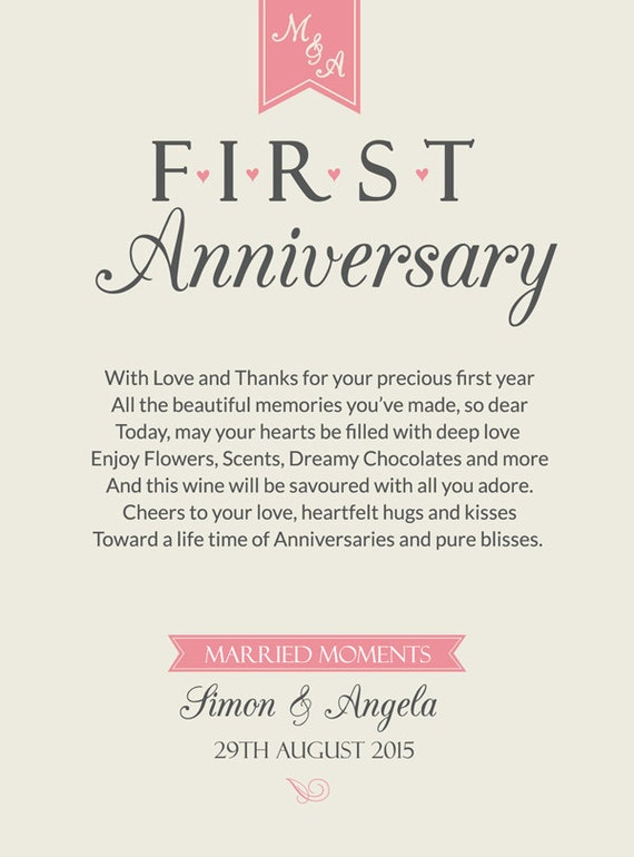 First anniversary wine label personalised st wedding