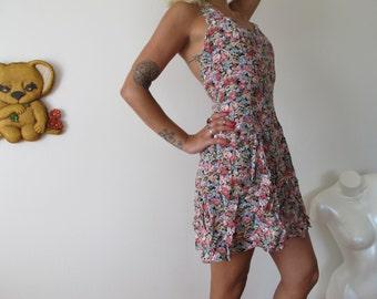 90s rampage grunge floral halter dress -vintage dress - size medium