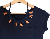 Fringe Necklace, Tribal Necklace, Blue Orange Fringes, Fabric Necklace, Blue Tshirt Yarn Necklace, Bib Necklace, African Jewelry, Summer