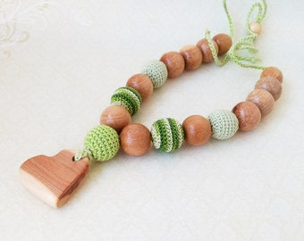 Nursing Necklace juniper heart, Teether for baby, organic Teether, Teether for babies with juniper pendant