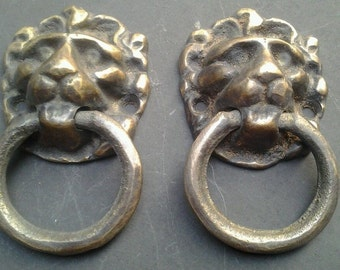 """2 Vintage Antique Brass Lion Head Pulls or Door Knockers 1 1/2""""wide x 2 5/8""""tall #H13"""