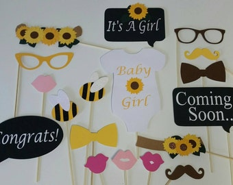 Sunflower and Bee 18 Piece Photo Booth Set/ Sunflowers/ What Will It Bee/ Coed Baby Shower Props/ Gender Neutral Shower /Twinsies