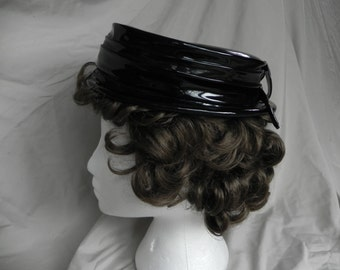 1940's ? Adorable Vintage Black Patent Leather Bowler Top Hat Adorned with a Black Feather