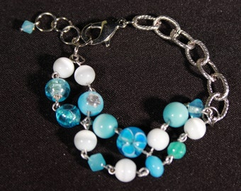 Turquoise Glass and Silvertone Bracelet