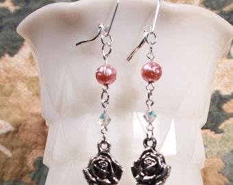Silvertone Rose and Pink Pearl Earrings