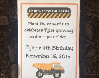 35 construction party seed packet favors, construction party favors, personalized party favors, construction party decorations, dump truck