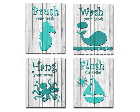 Brush Your Teeth Quotes: Items Similar To Teal Aqua Wood Bathroom Sign Decoration