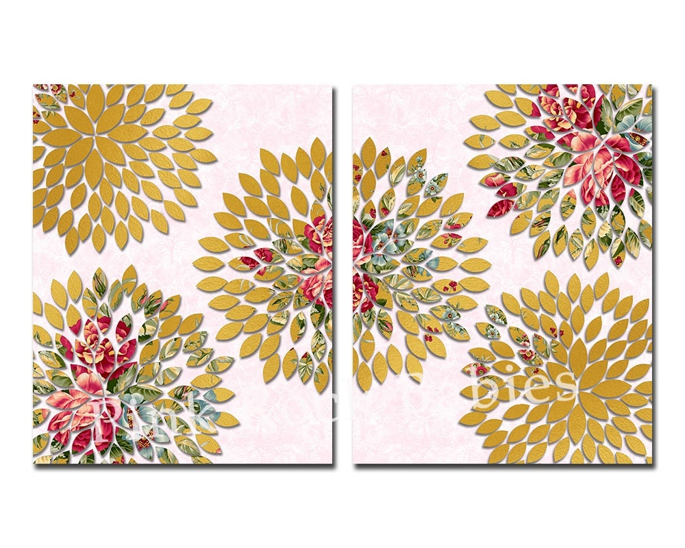 Gold pink floral nursery wall art baby girl room flower for Gold wall art