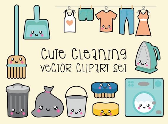 Premium Vector Clipart - Kawaii Cleaning Clipart - Kawaii Clip Art Set ...