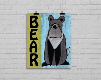 Woodland animal bear art print. Woodland nursery wall decor. Woodland wall art for kids bedroom. Woodland baby shower decor. Animal art